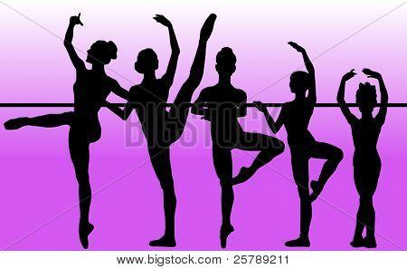 Silhouette Vector of a Ballet Dance School