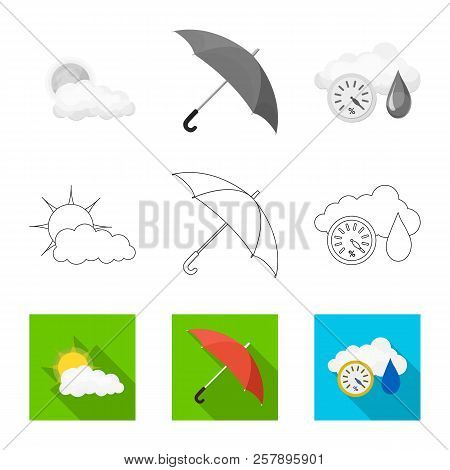 Vector Illustration Of Weather And Weather Logo. Collection Of Weather And Application Stock Symbol