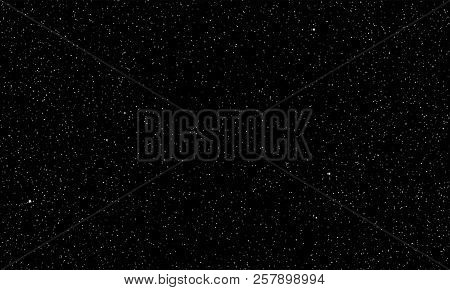 Starry Sky Vector Background Of Perfect Dark Space With Real Twinkling Or Shining Planet Stars In Pe