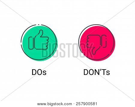 Do And Dont Thumb Up And Down Vector Thin Line Icons. Vector Bad Red And Good Green Circle Symbols F