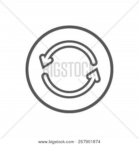Black And White Simple Vector Line Art Icon Of Two Update Arrows In The Round Frame