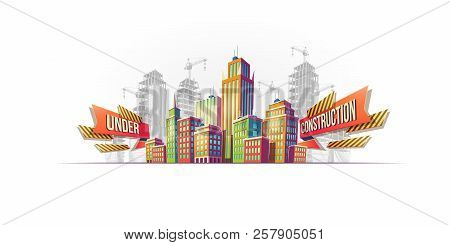 Cartoon Banner, Urban Background With Modern Big City Buildings, Skyscrapers, Business Centers On Th