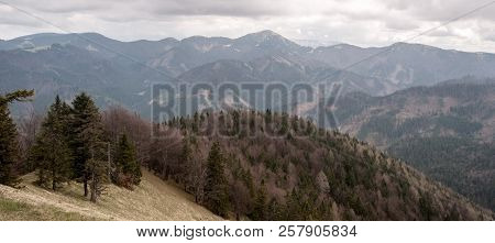 View From Maly Lysec Hill In Velka Fatra Mountains In Slovakia During Cloudy Spring Day
