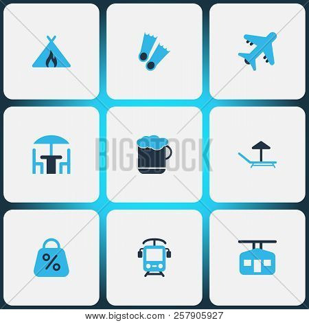 Journey Icons Colored Set With Cafe, Discount, Beer And Other Mug Elements. Isolated Vector Illustra