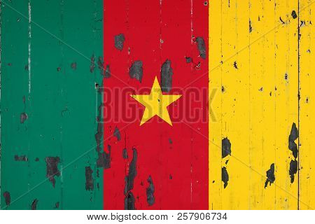 National Flag Of Cameroon On The Background Of An Old Mettale Covered With Peeling Paint