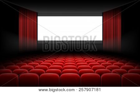 White Luminous Cinema Movie Theatre Screen With Red Curtains And Rows Of Chairs, Realistic Illustrat