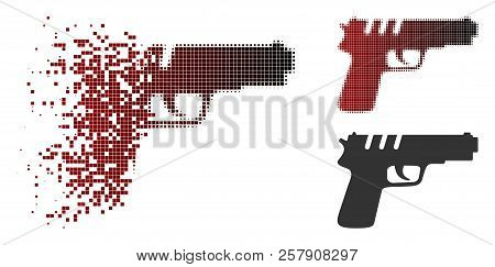 Pistol Gun Icon In Dissolved, Dotted Halftone And Undamaged Solid Versions. Particles Are Composed I