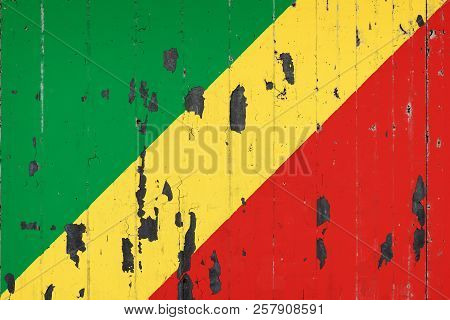 National Flag Of Republic Of The Congo On The Background Of An Old Mettale Covered With Peeling Pain