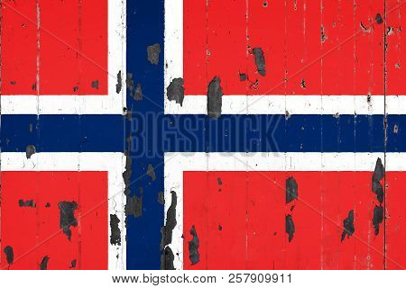 National Flag Of Norway On The Background Of An Old Mettale Covered With Peeling Paint
