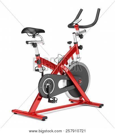 stationary exercise bike isolated on white background. 3d illustration poster