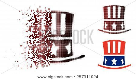 Uncle Sam Hat Icon In Fractured, Pixelated Halftone And Undamaged Solid Variants. Points Are Arrange