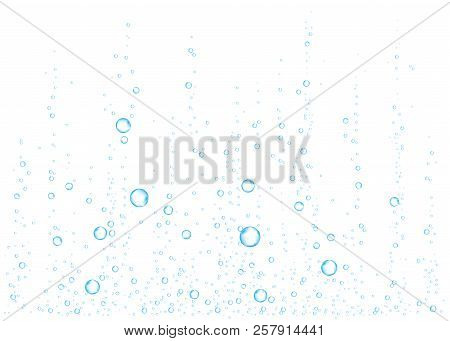 Underwater fizzing air, water or oxygen  bubbles on white  background. Effervescent drink. Fizzy sparkles in sea, aquarium.  Soda pop. Undersea vector texture. poster