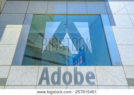 San Jose, California, United States - August 12, 2018:adobe Palace Window With Logo Isolated At Adob