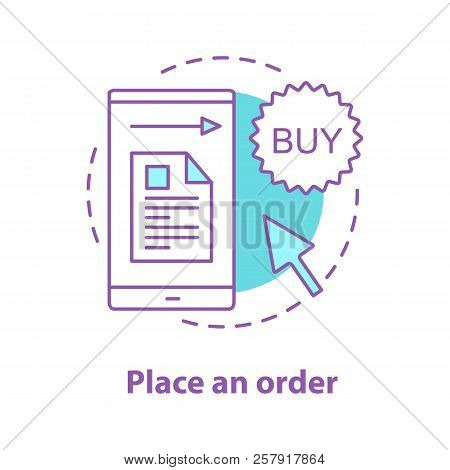 Order Placing Concept Icon. Online Shopping Idea Thin Line Illustration. Merchandise. Vector Isolate