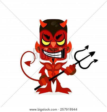 The Red Devil Smiles With A Trident In His Hands.