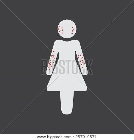 Rash Female Icon. Body Rash Icon. Medicine Or Antibiotic Side Effect. Health Problem With Allergy Ra
