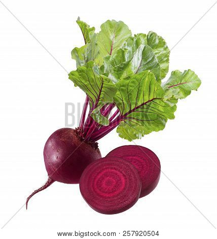Beet Root With Round Slices Isolated On White Background. Package Design Element With Clipping Path