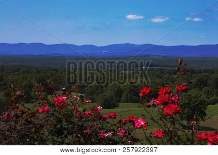 Wide-angle View Of The Blue Ridge Mountains In North Carolina In Late Summer, Including Stone Mounta