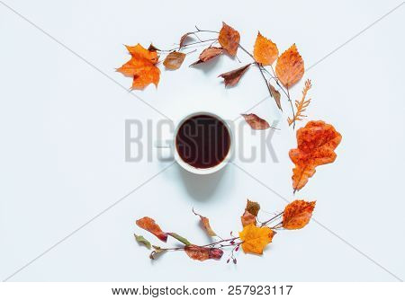 Autumn background - cup of coffee and dry autumn leaves on the white background. Autumn still life. Still life with concept of spending autumn time at cozy home, autumn card