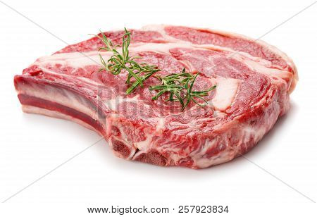Single Piece Of Beef Meat For Steak Isolated On White Background