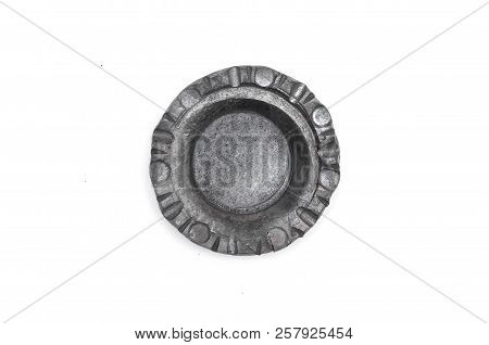 Retro Leaden Candle Holder In Form Of Circle Shape Isolated On White Background.