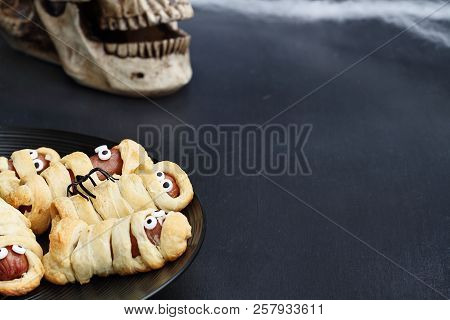 Fun Food For Kids. Halloween Mummy Hot Dogs.  Weiners Wrapped In Croissant Rolls To Look Like Mummie