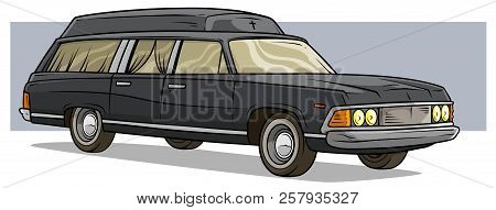 Cartoon Black Old Long Classic Funeral Hearse Car Cross And Curtains With Roof Rack On Violet Backgr