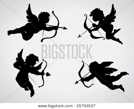 Four cute Valentine's angel silhouette