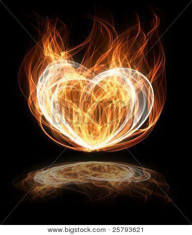 abstract flaming heart shape illustration