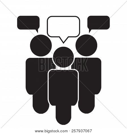Team Talk Icon On White Background. Businessman Meeting Sign. Flat Style. Team Talk Icon For Your We