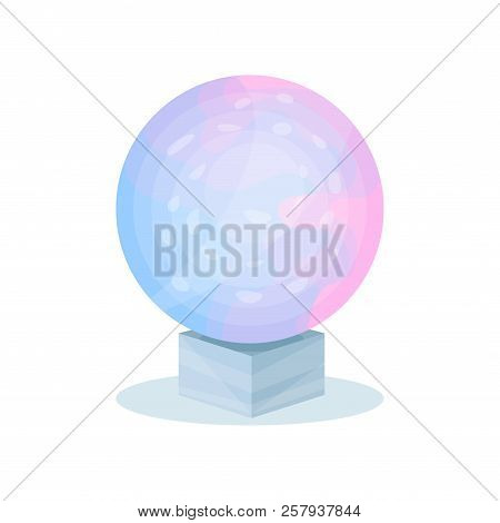 Magical Crystal Ball With Blue-pink Gradient. Glass Sphere On Gray Stand. Ritual Item. Flat Vector D