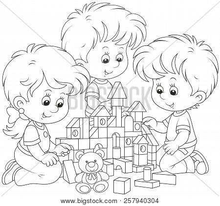 Small Children Playing With Bricks And Building A Toy Castle, Black And White Vector Illustration
