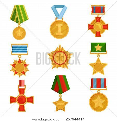 Flat Vector Set Of Military Medals With Colorful Ribbons. Shiny Golden Orders. Symbols Of Victory. V