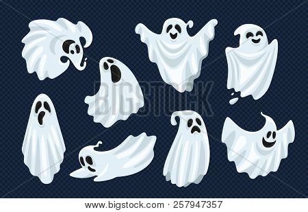Ghost Character. Halloween Scary Ghostly Monster, Dead Boo Spook And Spooky Fly Anima Isolated Carto
