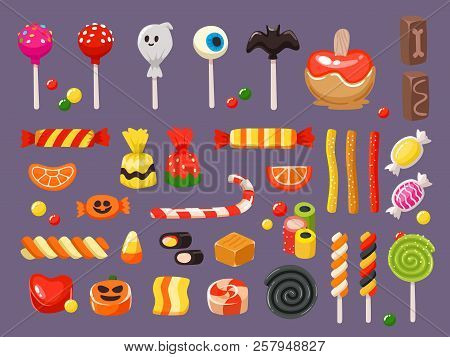 Halloween Candy. Sweet Candies, Scary Bat Lollipop And Sweets Liquorice Butterscotch Vector Illustra