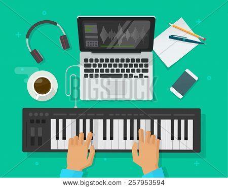 Musician Workspace Studio Vector Illustration, Flat Cartoon Person Playing Midi Piano Keyboard, Comp