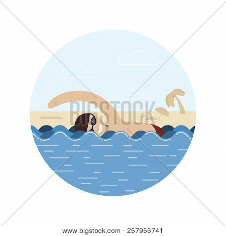 A Man Swims, A Swimmer In The Water, A Man In The Sea Or The Ocean. Summer, Beach, Vacation. Vector,
