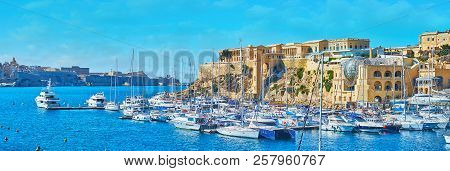 The Picturesque Panorama Of Kalkara Marina With Yachts At The Shipyards And Medieval Villa Bighi (pa