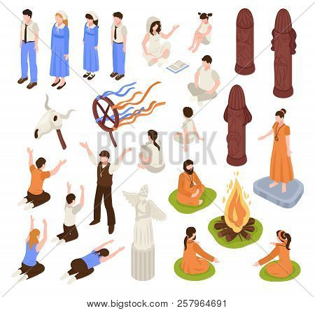 Isometric Religious Cult Set With Isolated Human Characters Of Prayers And Prophets With Ceremony It
