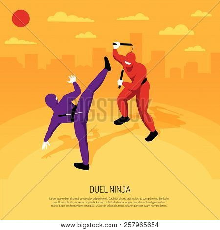 Unbeatable Ninja Warrior Duel With  Stickman Character Action Game Advertising Poster Isometric Comp
