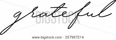 Grateful Word Hand Drawn Lettering Design In Black