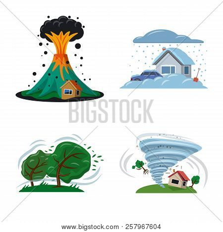Vector Illustration Of Natural And Disaster Sign. Collection Of Natural And Risk Stock Vector Illust