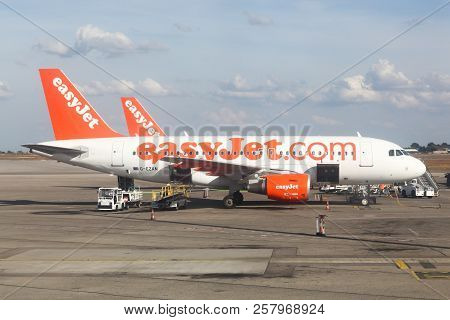 Lyon, France - September 9, 2018: Easyjet Aircraft At Lyon Airport. Easyjet Is A British Airline, Op