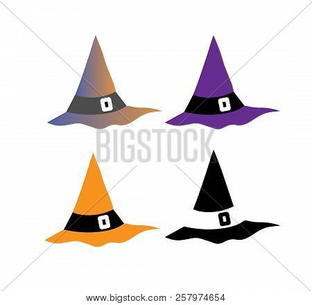 Witch Hat For Halloween.witch Hat Vector Icon . Hats With Straps And Buckles Set .