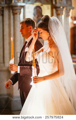 Newlyweds Wedding Ceremony In The Church, Wedding Ceremony, Glans