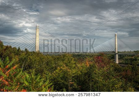 Penobscot Narrows Bridge Over Trees - Bucksport, Maine, Usa