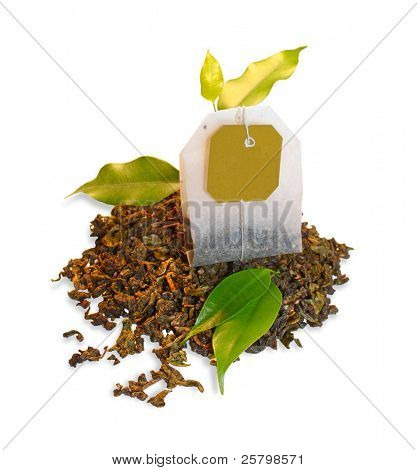 Tea bag with leaves isolated on white background poster