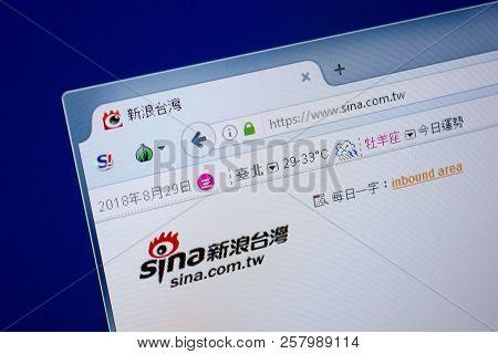 Ryazan, Russia - September 09, 2018: Homepage Of Sina Website On The Display Of Pc, Url - Sina.com.t