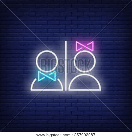 Man And Woman Restroom Neon Sign. Information And Warning Design. Night Bright Neon Sign, Colorful B