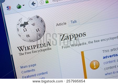 Ryazan, Russia - September 09, 2018 - Wikipedia Page About Zappos On A Display Of Pc
